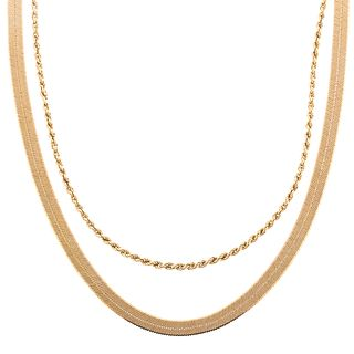 A Pair of Gold Chain Necklaces in 14K