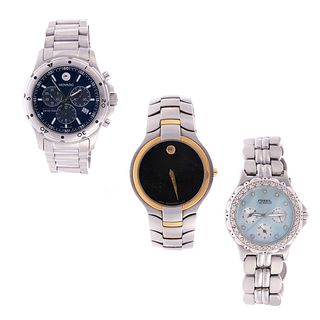 A Trio of Stainless Steel Watches