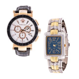 A Pair of Men's Watches Including Versace
