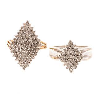A Pair of Wide Diamond Cluster Rings in 14K