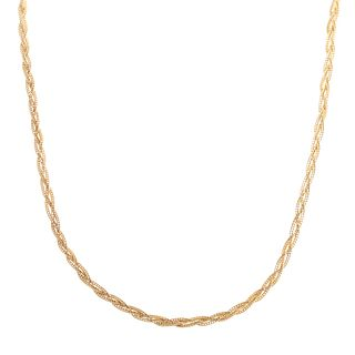 A Long Woven Chain Link Necklace in 14K