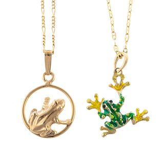 A Pair of Whimsical Frog Pendants in 14K
