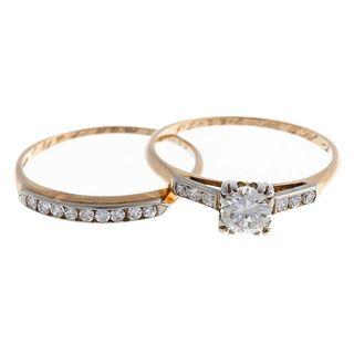 A Vintage Diamond Wedding Ring Set in 14K