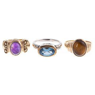 A Trio of Rings in 14K & Sterling