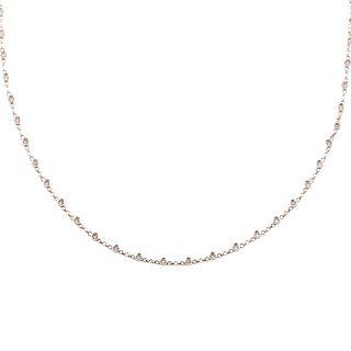 A Bezel Set Diamond Link Necklace in 18K