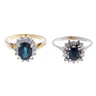 A Pair of Classic Sapphire & Diamond Rings in Gold