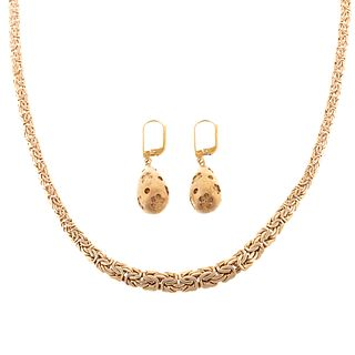 A 14K Woven Necklace with 18K Dangle Earrings