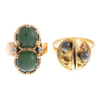 A Pair of Contemporary Gemstone Rings in 14K
