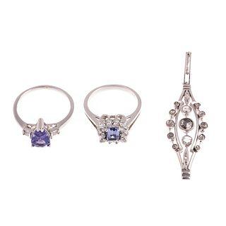 A Pair of Tanzanite Rings & Diamond Pendant