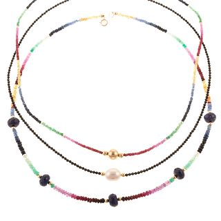 A Trio of Faceted Beaded Necklaces