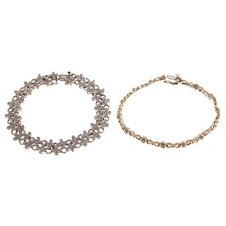 A Pair of Diamond Link Bracelets in Gold