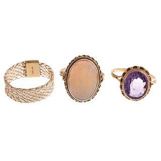 A Trio of Ladies Gemstone Rings in Gold