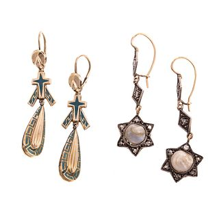 Two Pairs of Vintage Dangle Earrings in Gold
