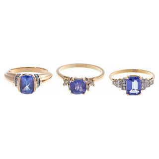 A Trio of Tanzanite & Diamond Rings in Gold