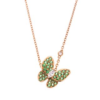 A Van Cleef & Arpels Two Butterfly Pendant in 18K