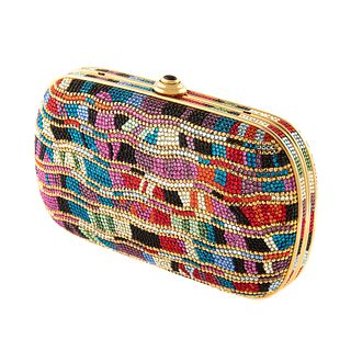 A Judith Leiber Multicolor Embellished Minaudiere