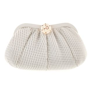 A Judith Leiber White Pleated Leather Clutch