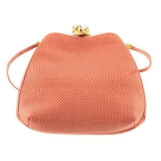 A Judith Leiber Coral Leather Clutch
