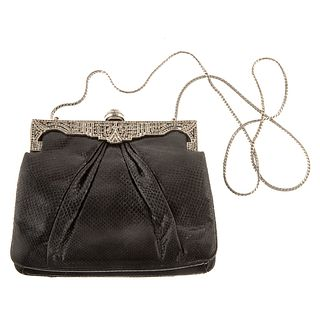 A Judith Leiber Black Leather Clutch