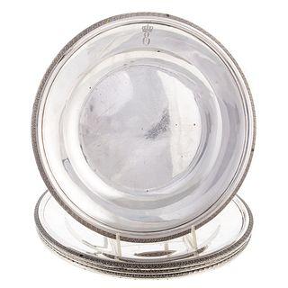 Four Silver Plates from Eugene de Beauharnais