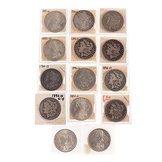 14 Different O-Mint Morgan Silver Dollars