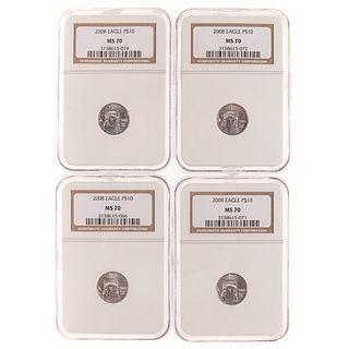 Four 2008 Platinum $10 NGC MS-70 Eagles