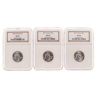 Three- $25 1/4 Oz Platinum Eagles 2-69's & 1-MS70