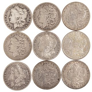 A Group of Nine CC Morgan Dollars
