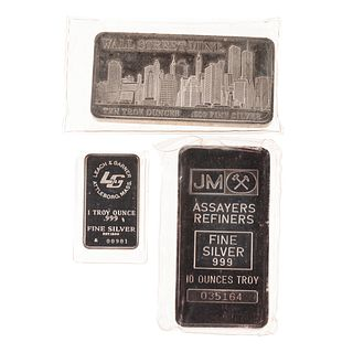 Two 10 Ounce and One 1 Ounce .999 Silver Bars