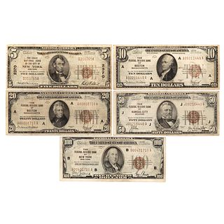 Complete Denomination Set National Currency 1929