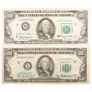 A Pair of Nice $100 FRN Star Notes