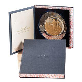 2- Silver & Gold Franklin Mint Bicentennial Plates
