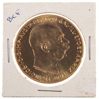 1915 Gold 100 Corona Bullion Hungarian Restrike