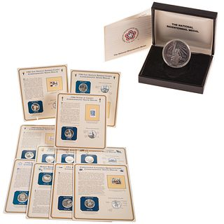 11 Commemorative Silver Dollars with Stamps