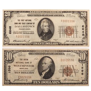 Nice Pair of 1929 Type 1 Nationals $10 & $20