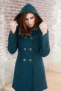 Car Coat in Teal/Loden Merino, size S