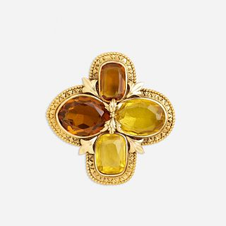 Citrine and gold pendant brooch