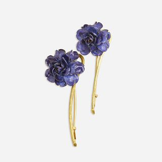 Tiffany & Co., Pair of purple enamel and gold flower brooches