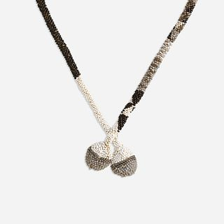Dagobert Peche for Wiener Werkstatte, Attributed grey and white glass bead necklace
