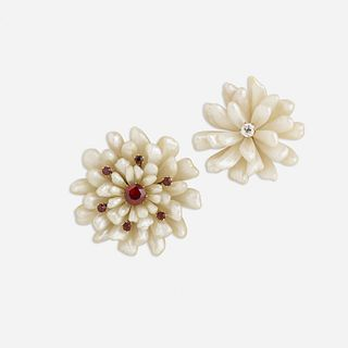 Two Antique freshwater pearl flower brooches