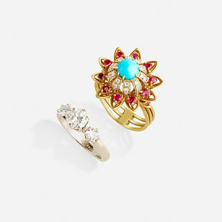 Three stone diamond ring and turquoise, ruby, and diamond ring