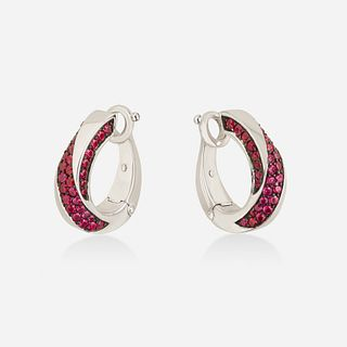 Mauboussin, Ruby and white gold earrings