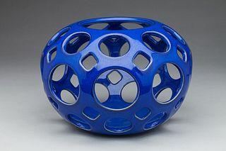 Round Openwork Candleholder Blue
