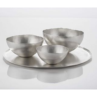 Nesting Bowl Round Tray Set Sterling Silver