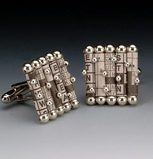 Recycled Newspaper Crossword Puzzle Cufflinks