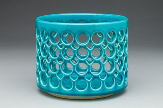 Lace Cylindrical Fruit Bowl, Turquiose