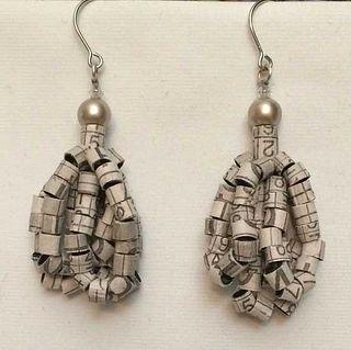 Recycled Newspaper Sudoku Puzzle Tassel Earrings