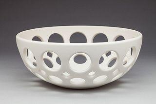 Round Pierced Fruit Bowl White