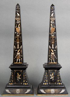 Egyptian Revival Stone Obelisks, Pair