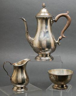 Cartier Sterling Silver Tea Service, 3 Pcs.